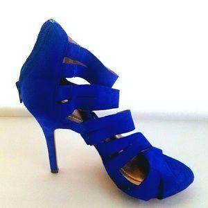 BCBG Generation Blue Suede Strappy Heels